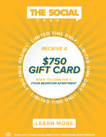 Sign a Lease for a 4-Bedroom Apartment and Receive a $750 Gift Card After Move In! Sign for a 3-Bedroom Apartment and Receive $500! Plus Waived App & Admin Fees.
