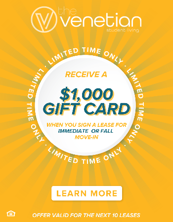 Sign an Immediate or Fall Lease and Receive a $1,000 Gift Card After Move In! This Offer is Limited to Next 10 Leases. Plus, Waived App & Admin Fees.
