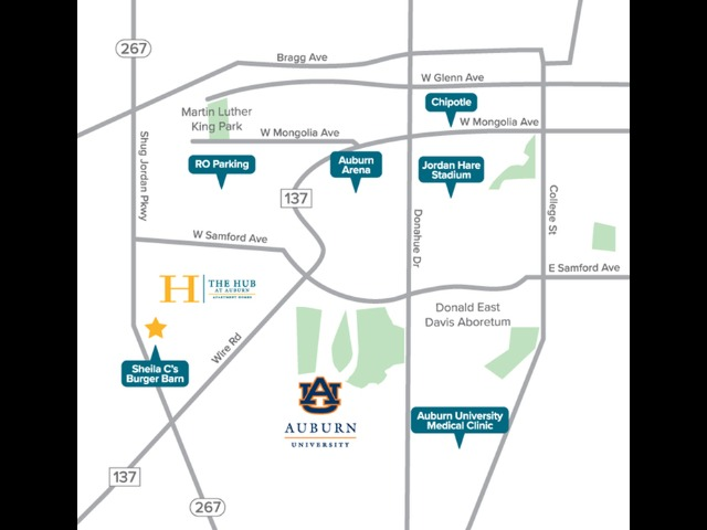 Location of The Hub at Auburn Apartment Homes