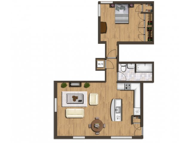 2D Floor Plan Image For The One Bedroom Floor Plan Of Property Park Vista  Apartments