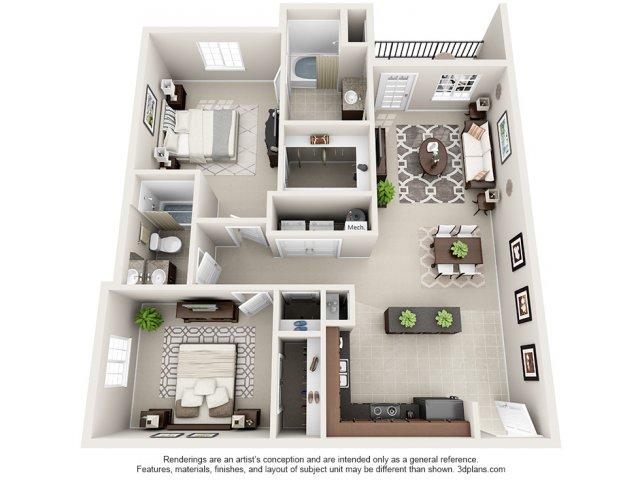 Garnet 3-D Floor Plan