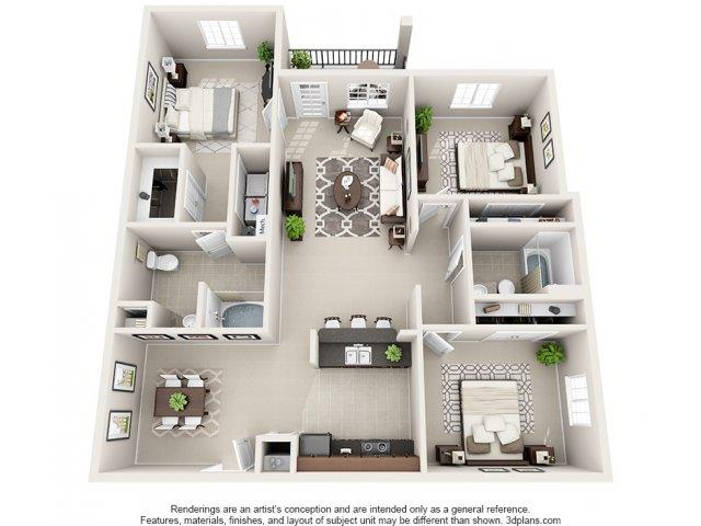 Emerald 3-D Floor Plan