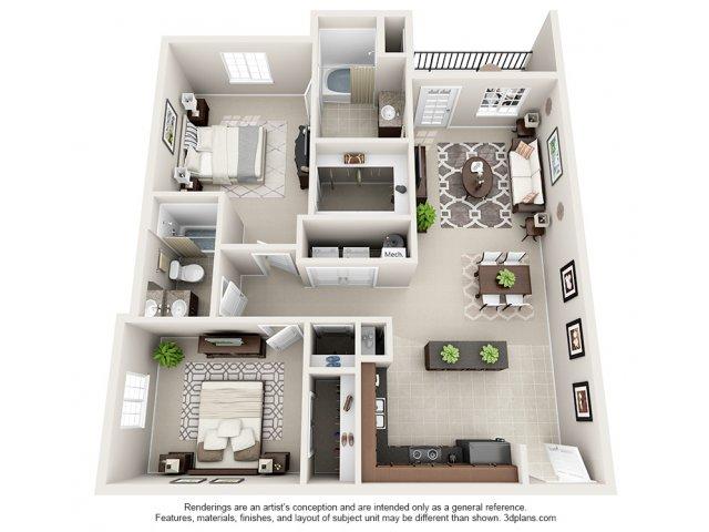 Hickory 3-D Floor Plan