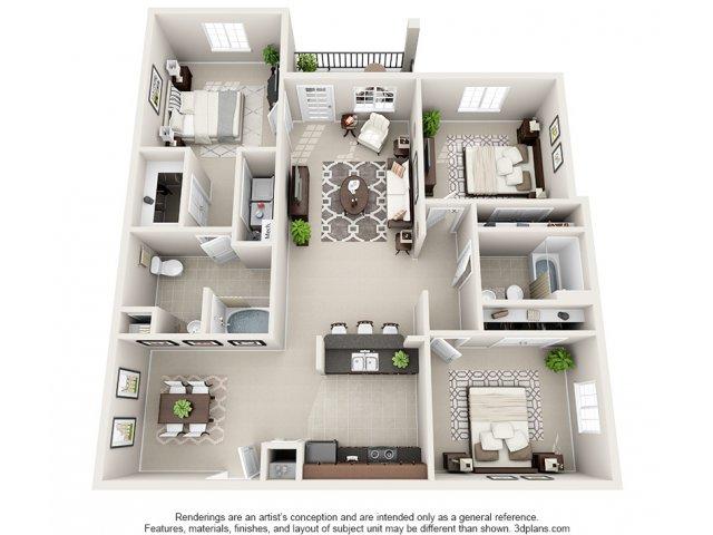 Magnolia 3-D Floor Plan