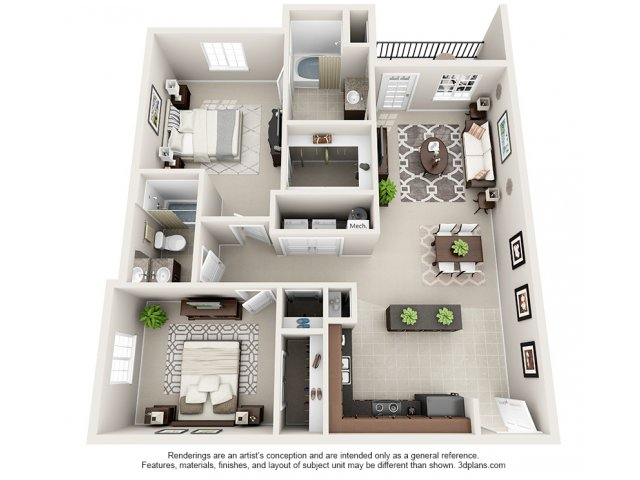 Mahogany 3-D Floor Plan