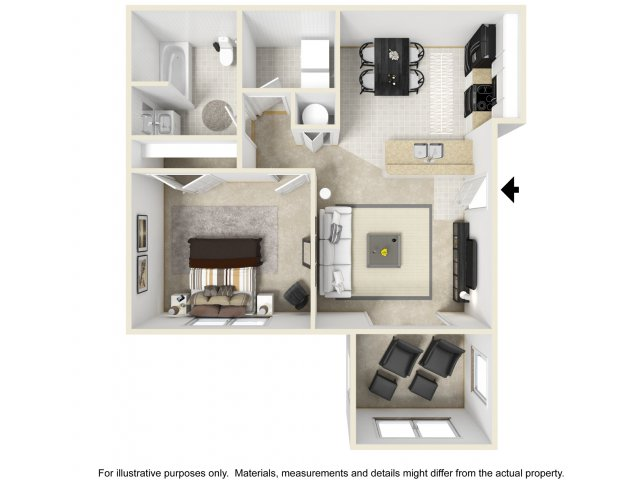 1 Bedroom with Sunroom   3 D Furnished. 1 2   3 Bedroom Apartments in Columbia SC   Deer Meadow Village