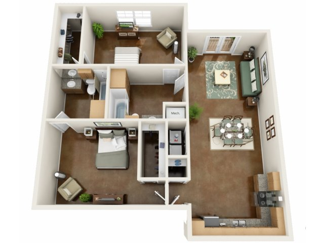 2 Bedroom Floor Plan | NorthPoint at 68 2