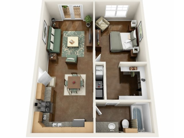 1 Bedroom Floor Plan | NorthPoint at 68 2