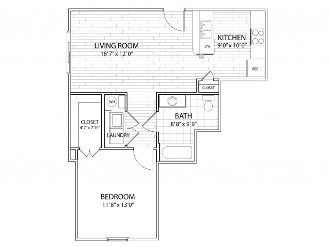 Mesa: 665 Sq Ft One Bedroom, One Bath