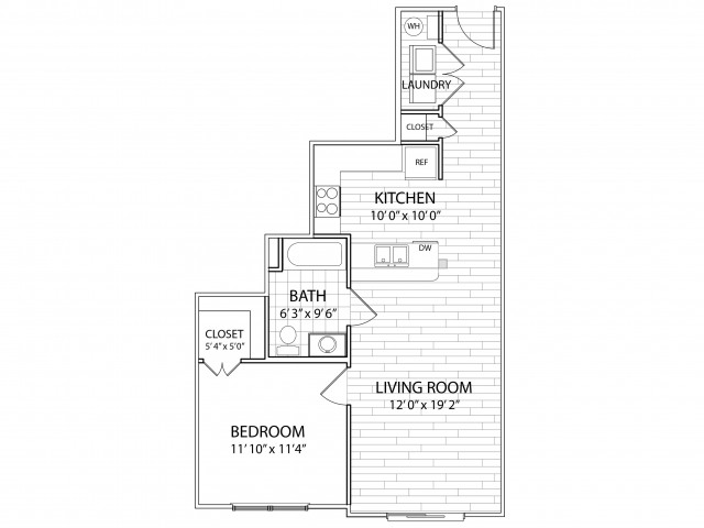 Crest: 692 Sq Ft One Bedroom, One Bath