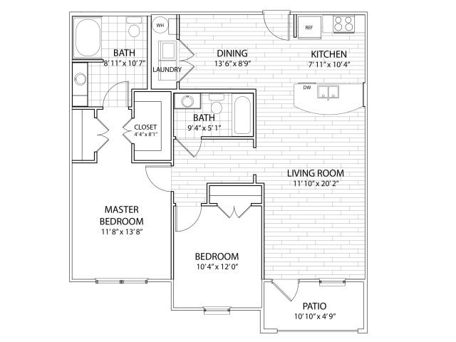 Sierra: 1096 Sq Ft Two Bedroom, Two Bath