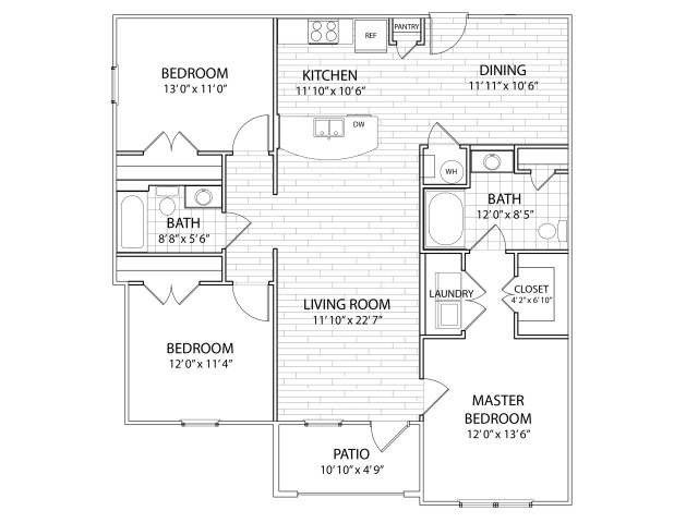 Apex: 1311 Sq Ft Three Bedroom, Two Bath