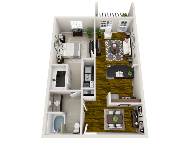 Crescent 3-D Floor Plan