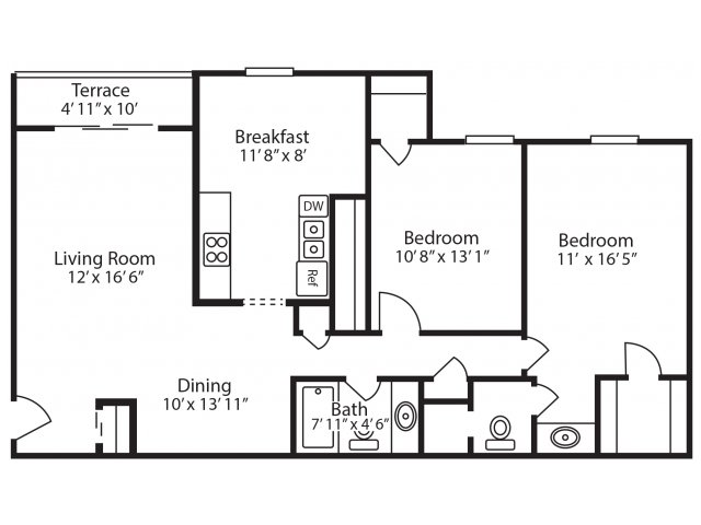 2 Bedroom, 2 Bath with Den
