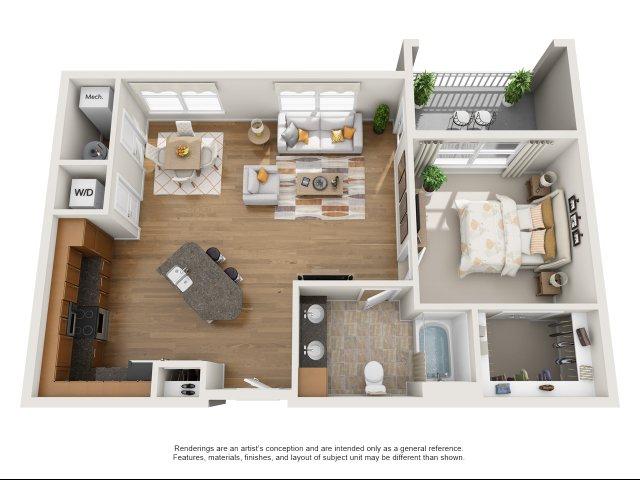 1 bedroom, 1 bath with balcony apartment Williamsburg, VA