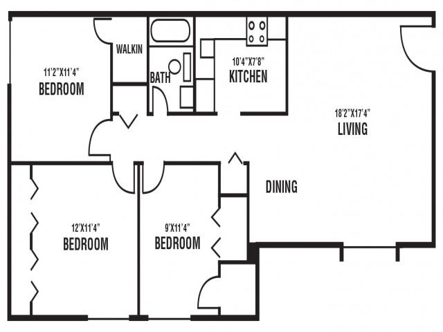 3 Bedroom, 1 Bath