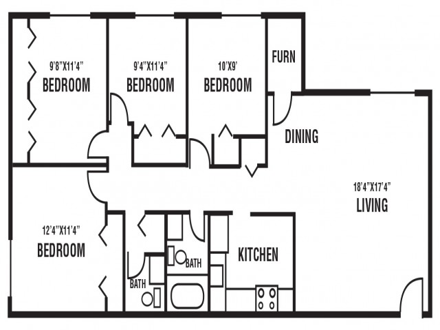 4 Bedroom, 1.5 Bath