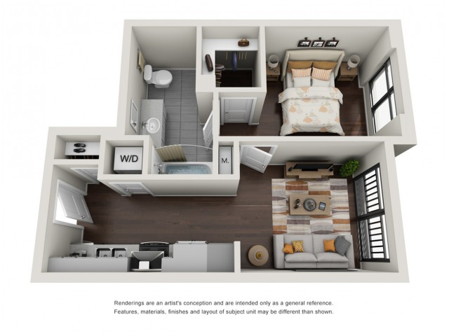 1 Bedroom Floor Plan | The Edge at 450