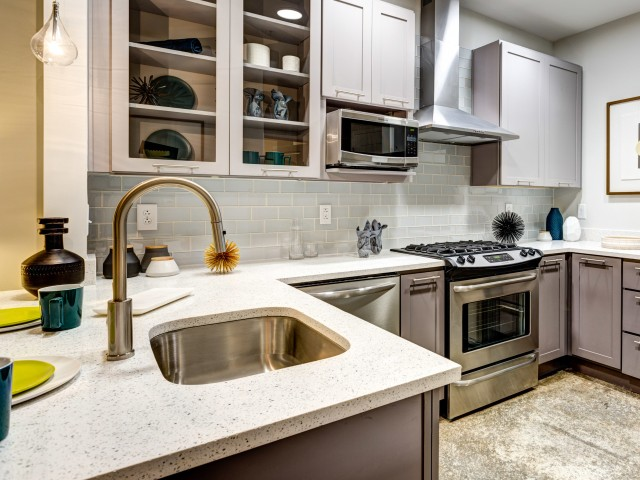 Image of Lavish Crystal Quartz Countertops for Aura Downtown