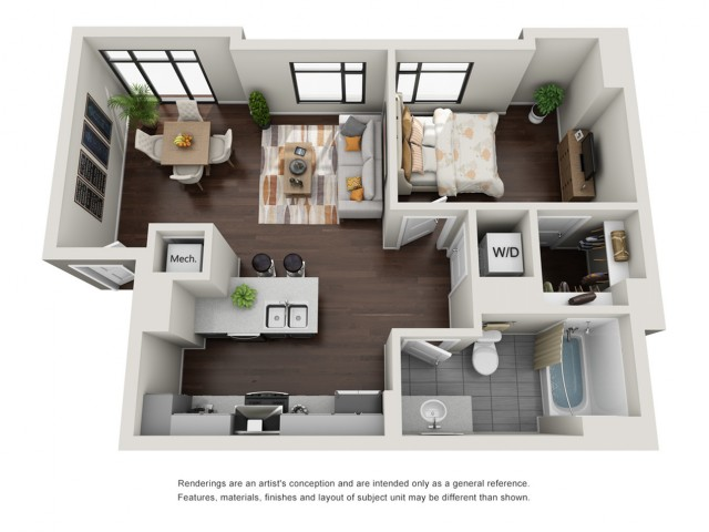 1 Bedroom with Loft Floor Plan | The Edge at 450