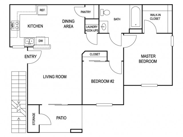 Two bedroom apartment with 788 sqft