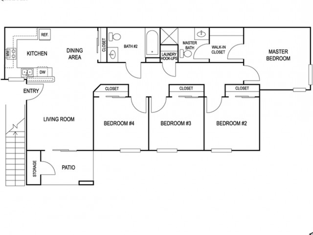 Four bedroom 2 bed with 1200 sq ft