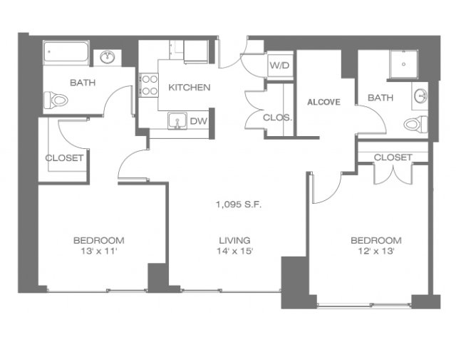 Two bedroom floor plan with alcove