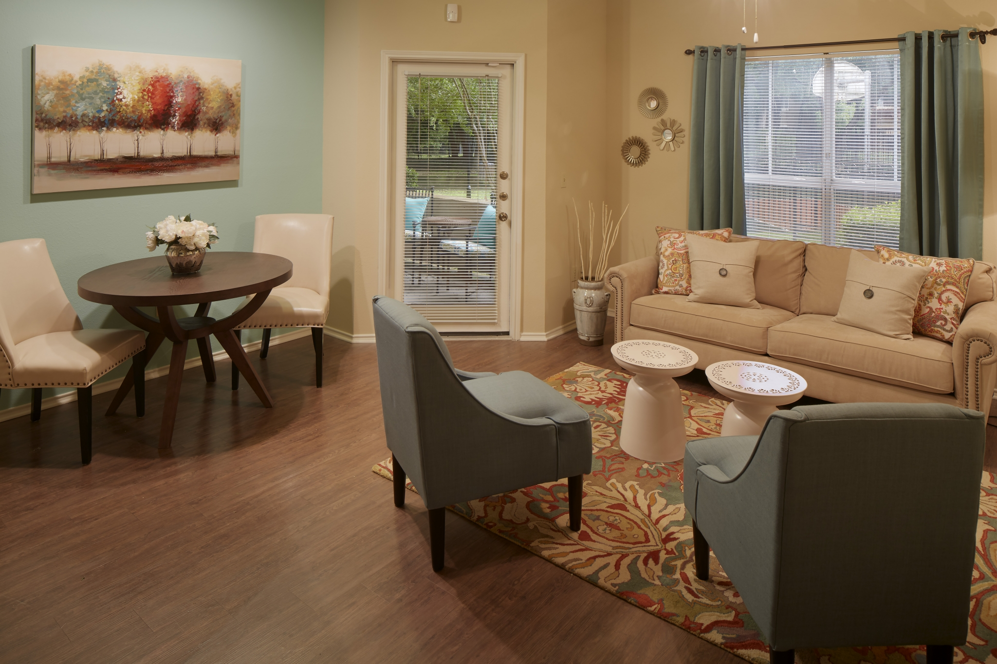 Hardwood flooring | apartment living room | Northland at the Arboretum