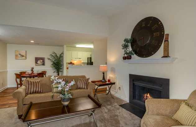 Relax in front of your wood burning fireplace on those cool nights, available in select homes