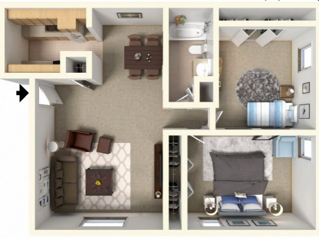 Boulders Apartment 2 Bedroom Floor Plan