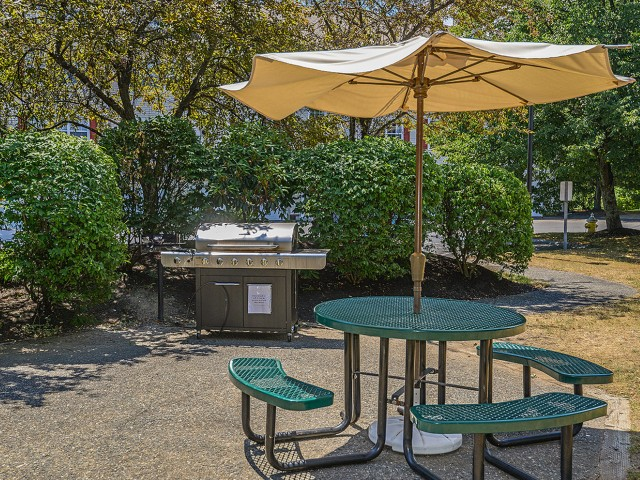 Community picnic table and gas grill | Westborough apartments