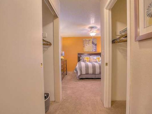 Master bedroom with 2 large closets for extra storage | Vizcaya rentals in Santa Fe NM