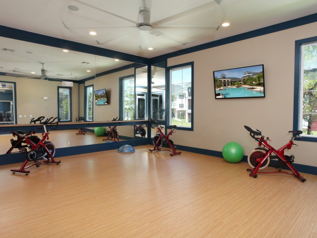 The Village at Terra Bella. Yoga studio and spinning room | fitness center | Village at Terra Bella apartment complex