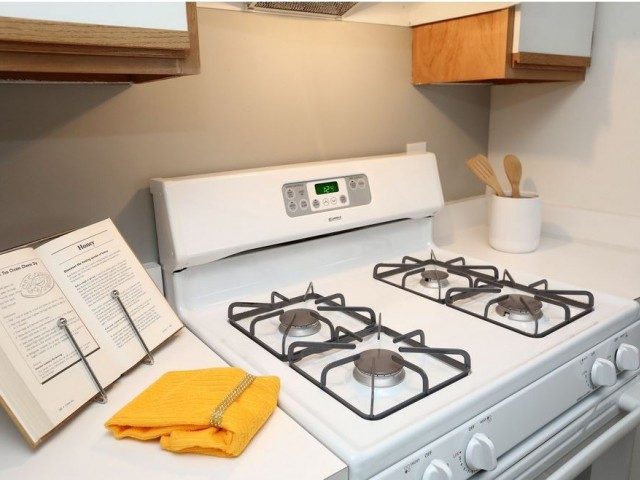 White gas stove in apartment kitchen | Manchester CT