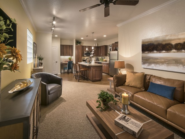 1 bedroom apartment living room with view into kitchen | Tucson AZ rentals