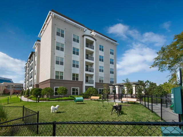Dog park at The Rialto | pet friendly apartments