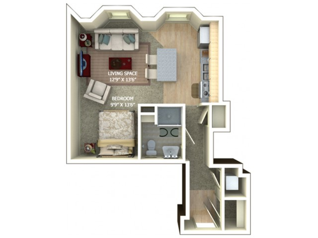 A1 Floor plan - Studio/1 bathroom