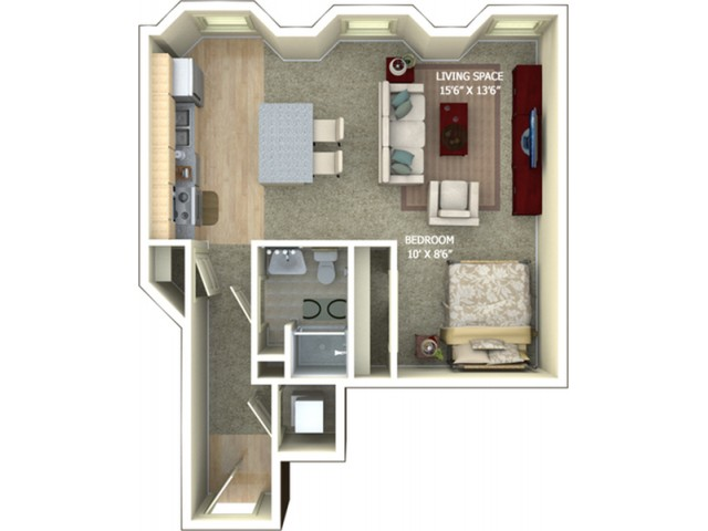 A2 Floor Plan - Studio/1 Bathroom