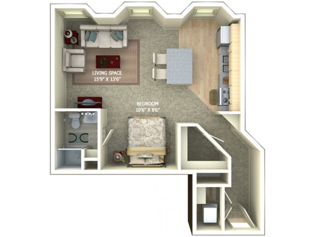 A3 Floor Plan - Studio/1 Bathroom