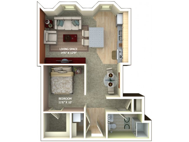 A4 Floor Plan - Studio/1 Bathroom
