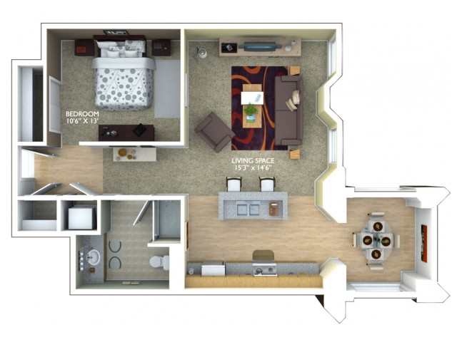 B1 Floor Plan - 1 Bedroom/1 Bathroom