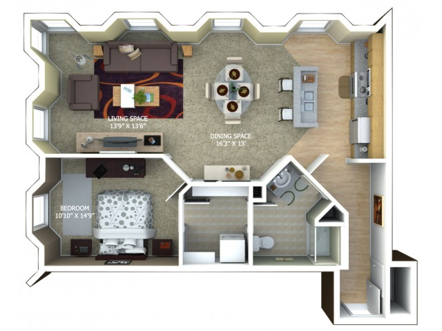 B2 Floor Plan - 1 Bedroom/1 Bathroom