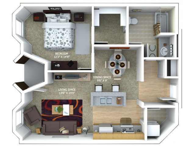 B3 Floor Plan - 1 Bedroom/1 Bathroom