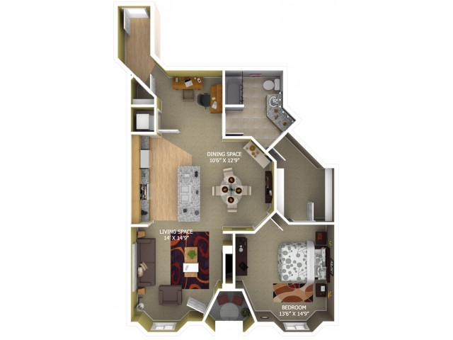 B4 Floor Plan - 1 Bedroom/1 Bathroom