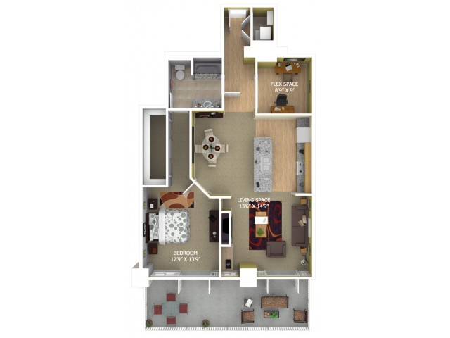 D2 Floor Plan - 1 Bedroom + Study/1 Bathroom