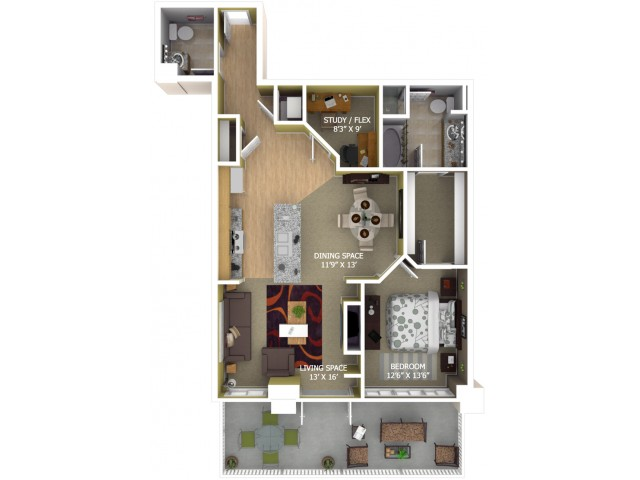D3 Floor Plan - 1 Bedroom + Study/1 Bathroom