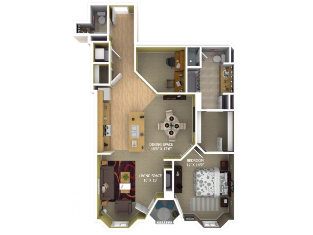 B5 Floor Plan - 1 Bedroom/1 Bathroom