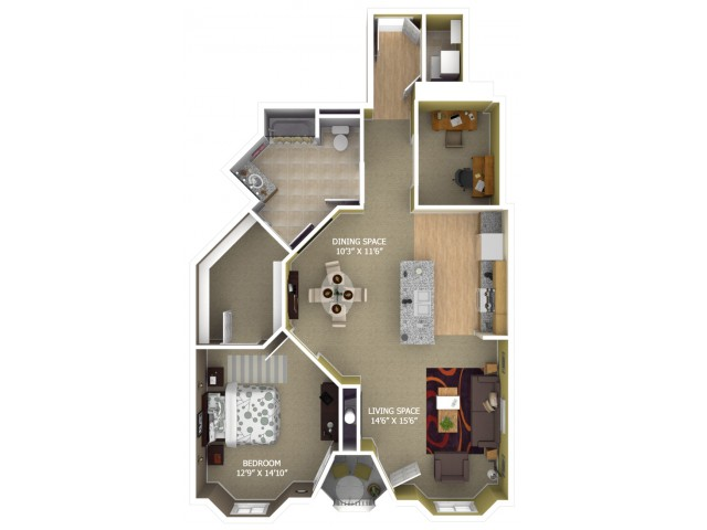 B6 Floor Plan - 1 Bedroom/1 Bathroom