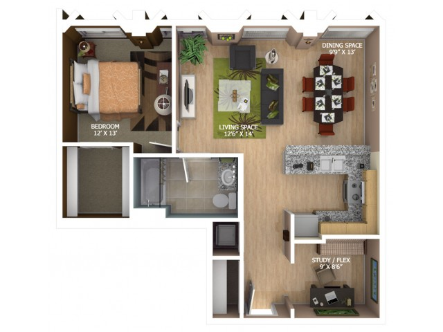 E7 Floor Plan - 1 Bedroom Penthouse/1 Bathroom