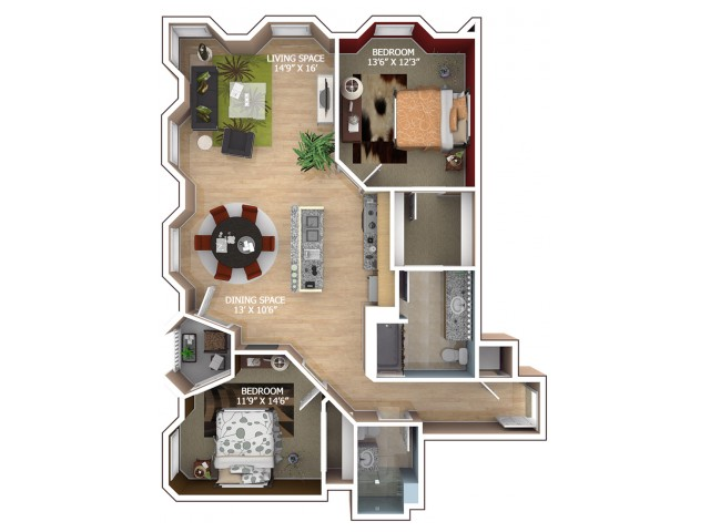 C1 Floor Plan - 2 Bedroom/2 Bathroom
